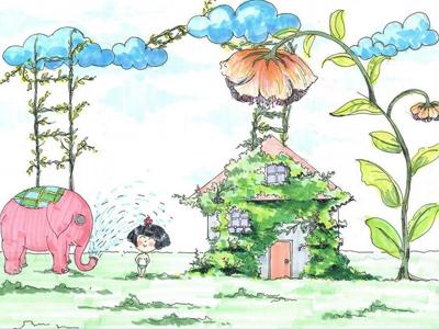 儿童简单彩色铅笔画 儿童画画呼吁植树 赶走雾霾天